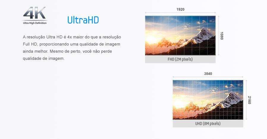 A resolução Ultra HD é 4x maior do que a resolução Full HD, proporcionando uma qualidade de imagem ainda melhor. Mesmo de perto, você não perde qualidade de imagem.