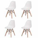 Kit 4 Cadeiras Charles Eames Eiffel Branco Base Madeira