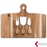 Tabua de Cozinha em Madeira com 03 Acessorios para Queijo - Kenya