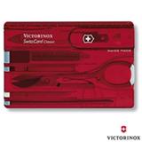SwissCard Classic com 11 Funcoes em ABS e Celidor Vermelho Translucido - Victorinox