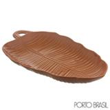 Travessa Acervo Panelinha Leaves Canela em Ceramica com 55 cm
