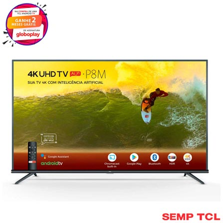 """Smart TV TCL LED 4K 50"""" com Google Assistant, Controle Remoto com Comando de Voz e Wi-Fi - 50P8M"""