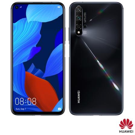 """Huawei Nova 5T Preto, com Tela de 6,26"""", 4G, 128GB e Câmera de 48MP + 16MP + 2MP + 2MP - NOVA5T"""