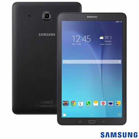 """Tablet Samsung Galaxy Tab E Preto com 9,6"""", 3G, Wi-Fi, Android 4.4, Processador Quad-Core 1.3 GHz e 08 GB"""