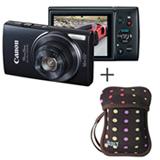 Câmera Digital Canon PowerShot ELPH 150 Preta com 20MP, Tela de LCD 2.7', HD + Capa em Neoprene Preta com Bolas Coloridas