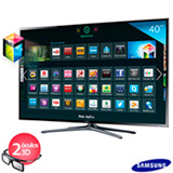 Smart TV 3D LED Samsung 40' com Wi-Fi - UN40F6400