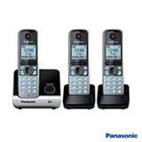 Telefone sem Fio Panasonic DECT 6.0 + 2 Ramais, Preto e Prata - KXTG6713